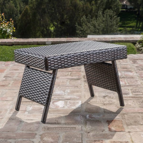 The Darvis Outdoor Mixed Wicker End Table With Aluminum Frame
