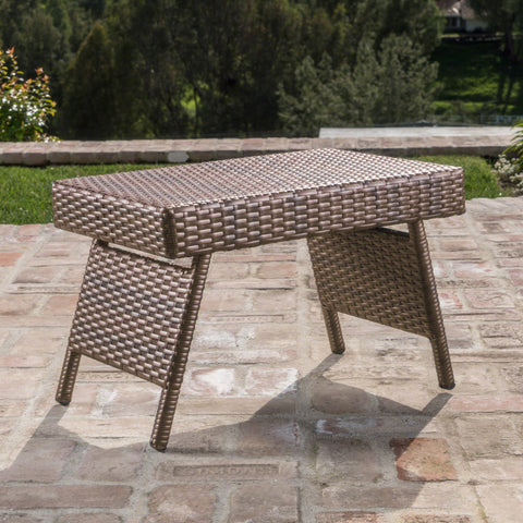 Sagan Outdoor Mixed Wicker Adjustable Folding Side Table