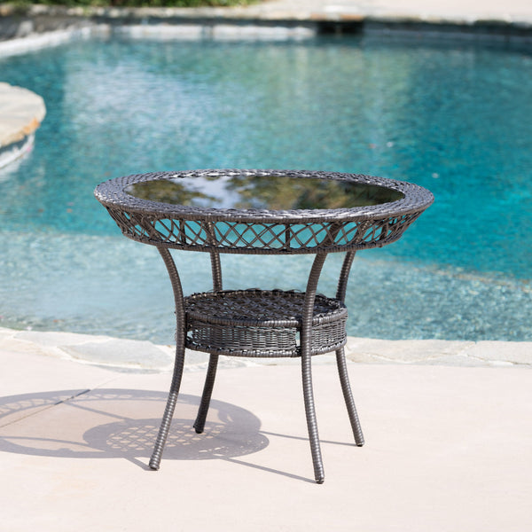 Milton Outdoor 5 Piece Wicker Dining Set With Tempered Glass Table Top