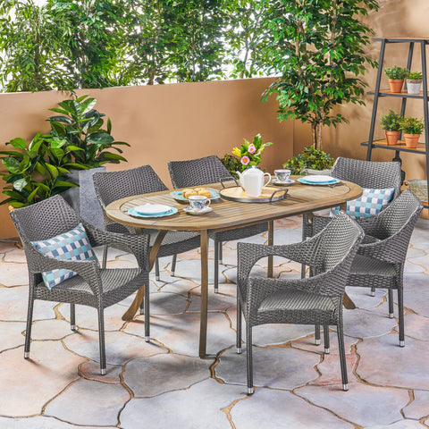 Sidney Outdoor 7 Piece Wood And Wicker Dining Set