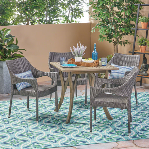 Carolina Outdoor 5 Piece Wood And Wicker Square Dining Set