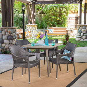 Samuel Outdoor 5 Piece Wood And Wicker Dining Set