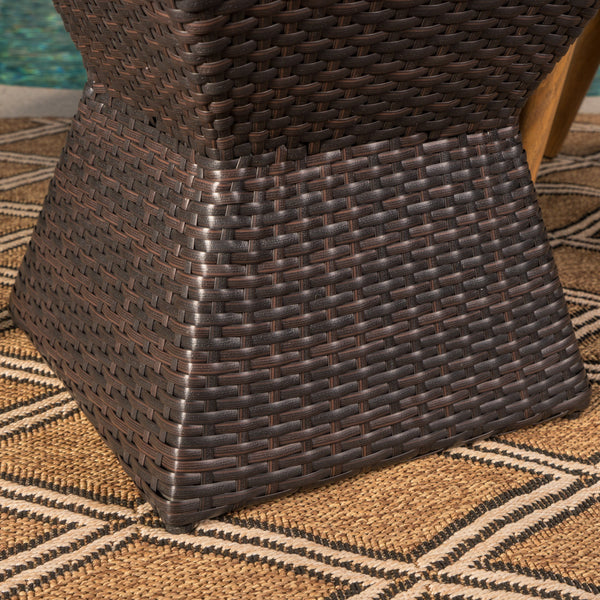 Arizona Outdoor 3 Piece Mutti Wicker Chat Set With Stacking Chairs And Square Side Table
