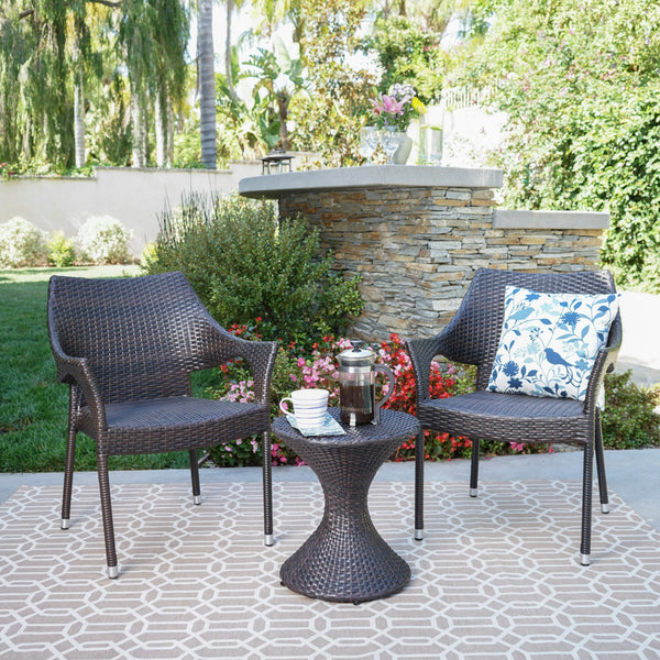 Aviary Outdoor 3 Piece Mutti Wicker Chat Set With Stacking Chairs And Hourglass Side Table