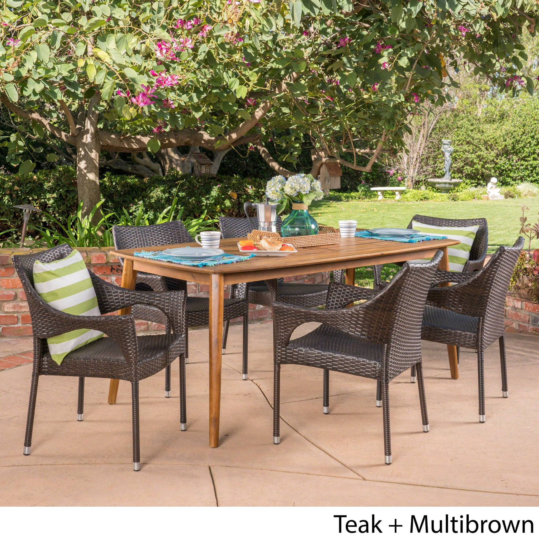 Cleo Outdoor 7 Piece Wicker Dining Set With Teak Finish Rectangular Acacia Wood Dining Table