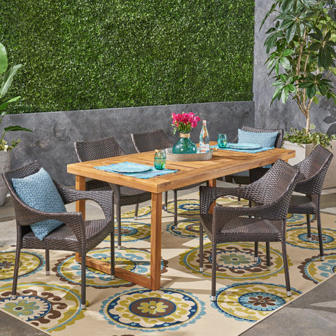 Lazlo Outdoor 7 Piece Acacia Wood Dining Set With Stacking Wicker Chairs