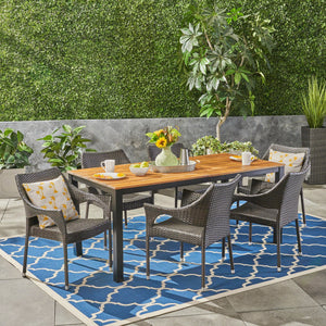 Triton Outdoor 7 Piece Acacia Wood Dining Set With Stacking Wicker Chairs