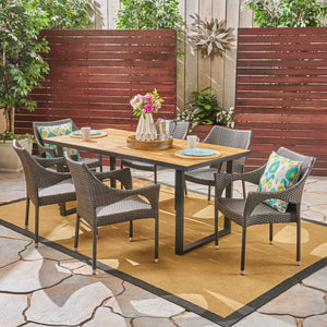 Waveland Outdoor 6-Seater Rectangular Acacia Wood And Wicker Dining Set