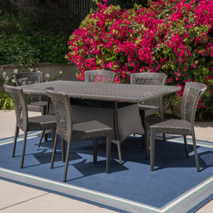 Quilted Outdoor 7 Piece Wicker Dining Set