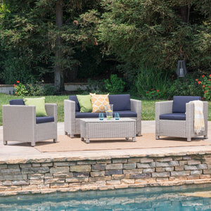 Preston Outdoor Chalk Wicker 4 Piece Chat Set With Water Resistant Cushions