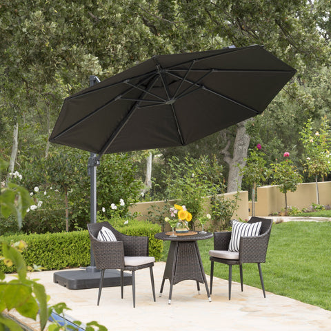 Preslynn Outdoor 9.8 Ft. Canopy Umbrella With Resin Base And Aluminum Frame