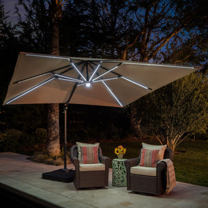 Delma Outdoor Sand Water Resistant Canopy With Solar Strip And Aluminum Pole With Plastic Base