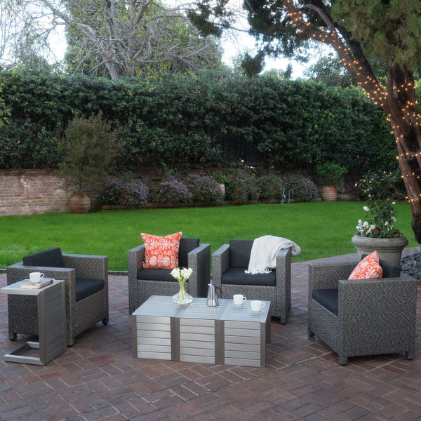 Preston Outdoor 4 Piece Wicker Club Chairs With Mixed Cushions And 2 Aluminum C-Shaped Tables