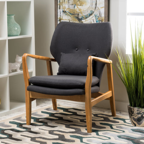 Gwendolyn Wood Fabric Club Chair