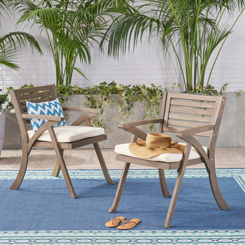 Hensley Outdoor Acacia Wood Dining Chair