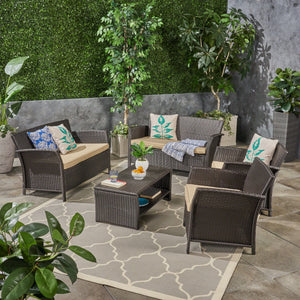 Spencer Outdoor 6 Seater Wicker Chat Set