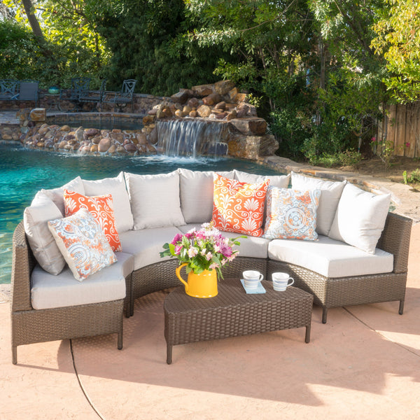 Neville Outdoor 4 Seater Wicker Sofa Set With Water Resistant Fabric Cushions