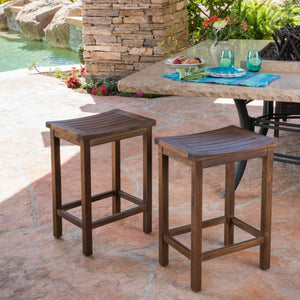 Alvira Outdoor Acacia Wood Counter Stool (Set Of 2)