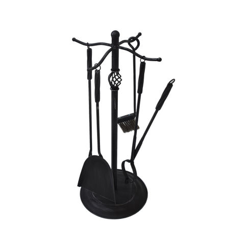 Beckford Iron Fireplace Tool Set | Color: Black, Finish: Black Brushed Silver