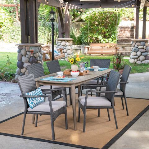 Tafton Outdoor 7 Piece Wood And Wicker Dining Set