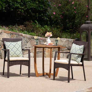 Skyla Outdoor 3 Piece Acacia Wood/ Wicker Bistro Set With Cushions