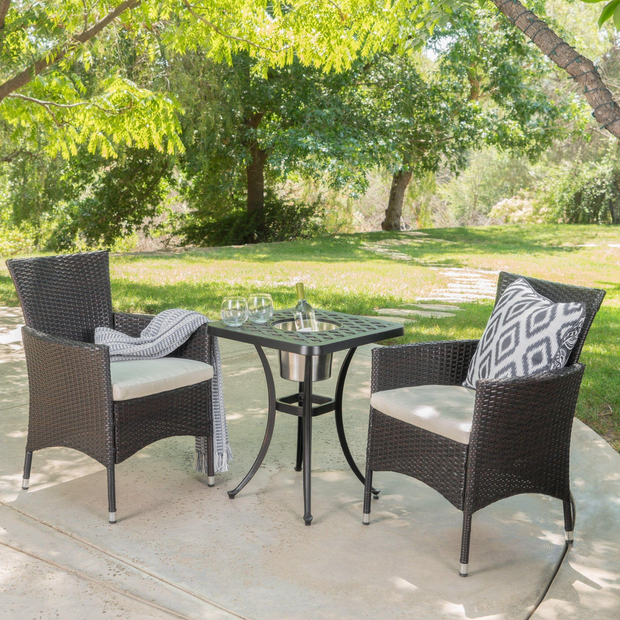 Auley Outdoor 3 Piece Aluminum And Wicker Bistro Set With Water Resistant Cushions