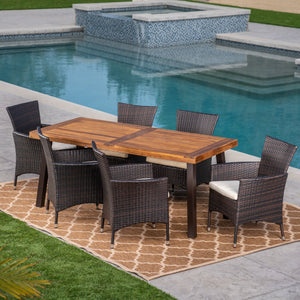 Tulip Outdoor 7 Piece Acacia Wood/ Wicker Dining Set With Cushions