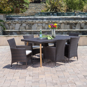 Carnegie Outdoor 7 Piece Wicker Dining Set With Water Resistant Cushions