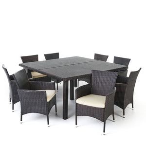 Aria Outdoor 9 Piece Wicker Square Dining Set With Water Resistant Cushions | Color: Brown, Color: Multi-Brown and Beige