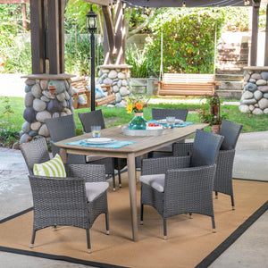 Janewood Outdoor 7 Piece Wood And Wicker Dining Set