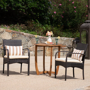 Lina Outdoor 3 Piece Acacia Wood/ Wicker Bistro Set With Cushions