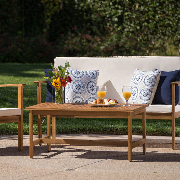 Lucas Outdoor 4 Piece Finished Acacia Wood Chat Set With Water Resistant Fabric Cushions