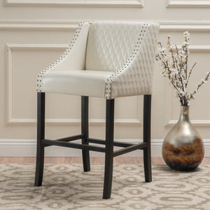 Mikal Quilted Bonded Leather Bar Stool