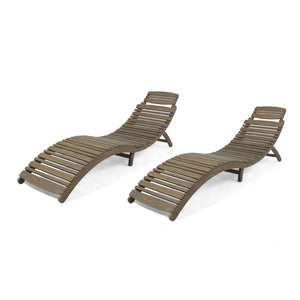 Lacaze Outdoor Acacia Wood Foldable Chaise Lounge (Set Of 2)