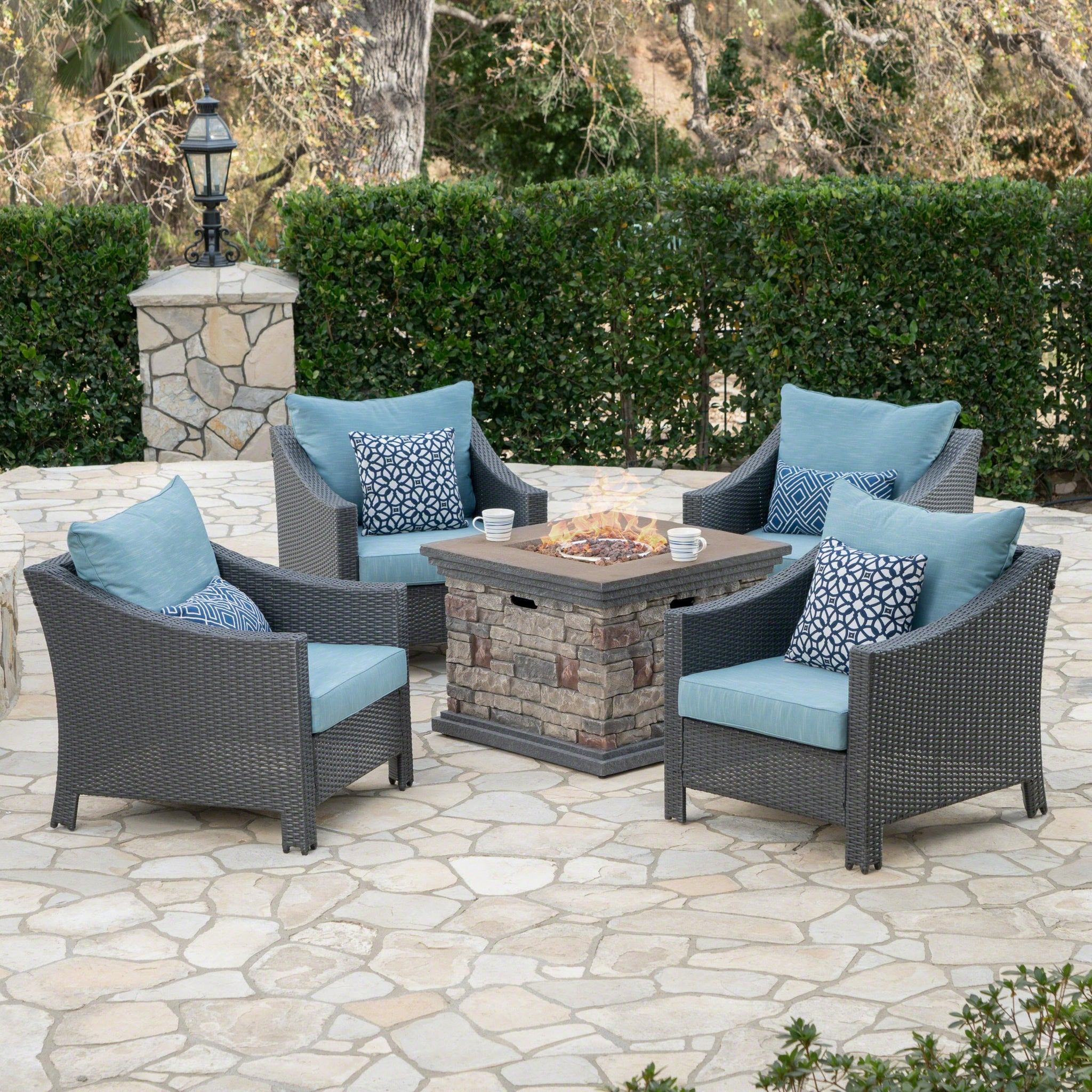 Anson Outdoor 5 Piece Wicker Club Chairs With Water Resistant Cushions And Stone Finished Fire Pit