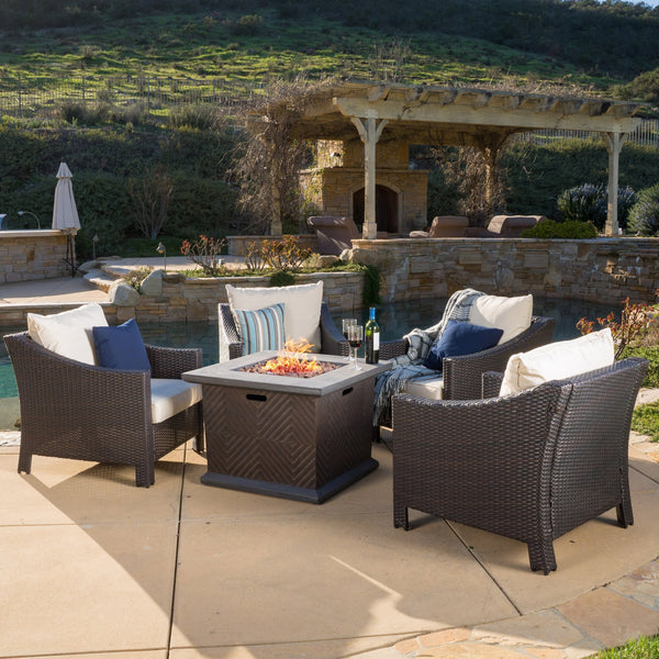 Brayden Antibes Club Chair + Mendocino Square Mgo Fire Pit