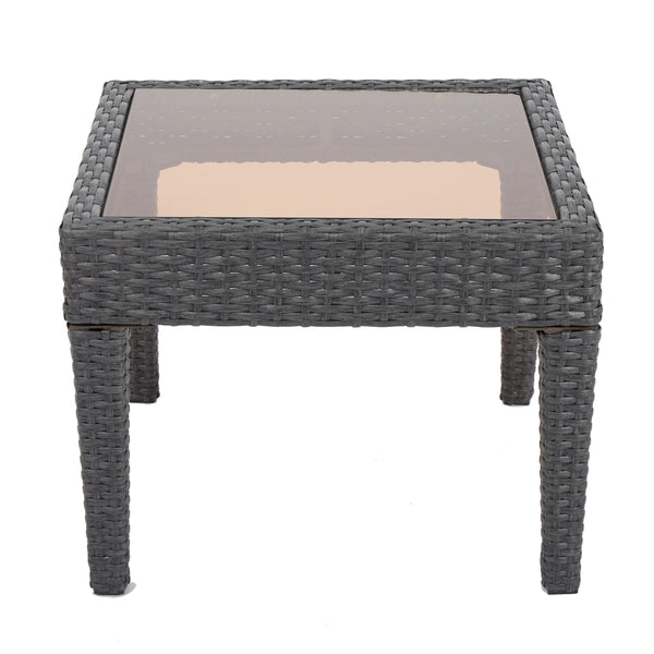 Anson Outdoor Wicker Side Table with Tempered Glass Top | Color: Gray, Color: Gray