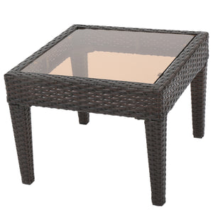 Anson Outdoor Wicker Side Table with Tempered Glass Top | Color: Brown, Color: Multi-Brown