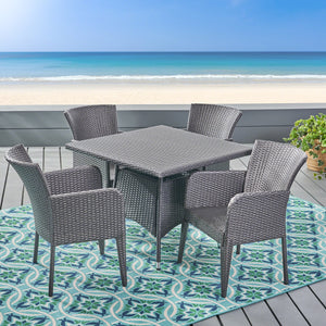 Coronad Outdoor 5 Piece Wicker Dining Set