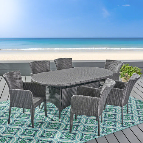 Coronad Outdoor 7 Piece Wicker Dining Set