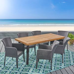 Demarco Outdoor 7 Piece Wicker Dining Set
