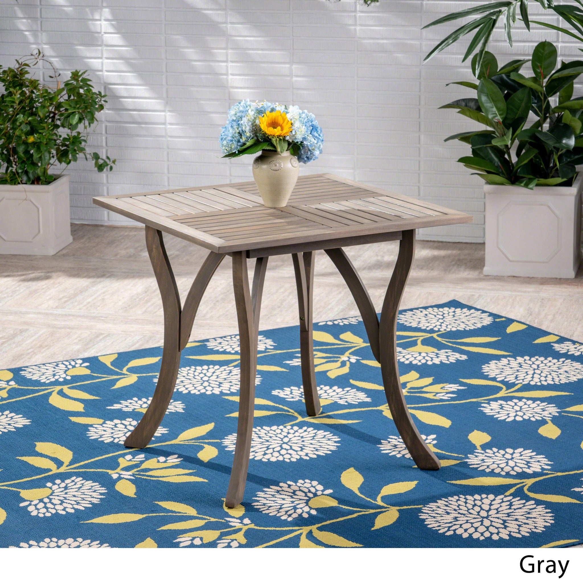 Hensley Outdoor Acacia Wood Square Dining Table