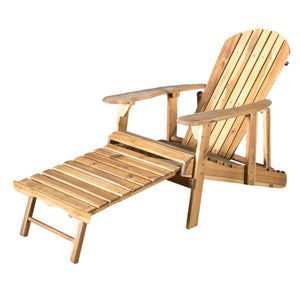 Haviv Reclining Adirondack Chair With Footrest | Color: Natural, Quantity: Single, Single: Color, Color: Natural Stain