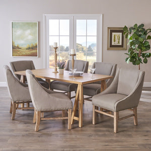 Rylan Farmhouse Natural Dining Set With Fabric Dining Chairs