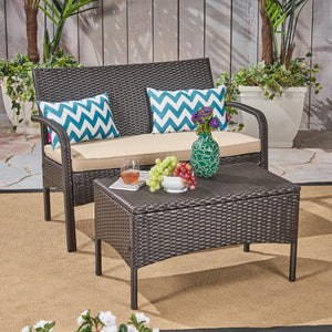 Corbin Outdoor Wicker Love Seat And Table