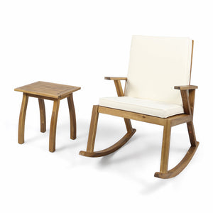Chadney Outdoor Acacia Wood Rocking Chair And Table Set