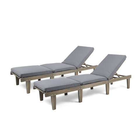 Argo Outdoor Acacia Wood Chaise Lounge With Cushion | Color: Gray, Quantity: Set of 2, Set of 2: Color, Color: Gray and Dark Gray
