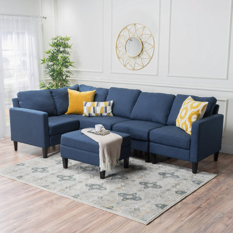 Yuny Fabric Sectional Couch With Ottoman