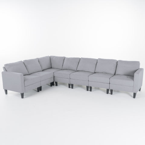 Yuny 7 Piece Fabric Sectional Couch