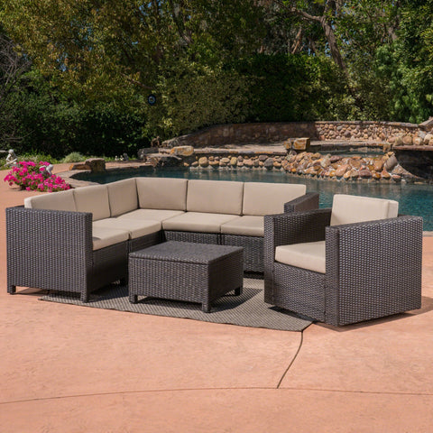 Preston Outdoor 6 Seater Wicker V-Shaped Sofa And Swivel Chair Set With Mixed Water Resistant Cushions